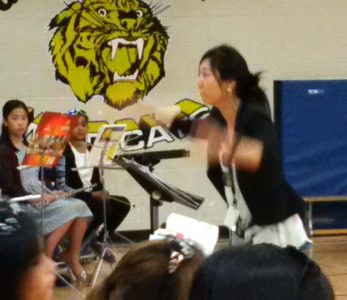 Silvia conducting the summer band concert at Garden City Elementary