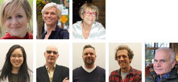 (top row (l-r): Helena Bryn-McLeod, Monika Tusnady and Kerri Wallen; bottom row (l-r): Kelsey Lee, Jack Neu, Jeff Steudel, Lawrence Jakoy and Joel Herman