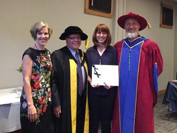 Dr. Wendy Carr, Dean Frank, Amy Stewart – Outstanding Practicum Award Recipient, and Dr. Leyton Schnellert