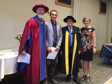 Dr. Leyton Schnellert, Jared Strand – Gordon Sinclair Wilson Scholarship, Dean Frank, and Dr. Wendy Carr